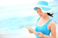 Vacation woman use digital tablet Royalty Free Stock Photos
