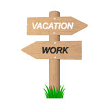 Vacation wooden sign. 2d illustration Stock Images