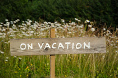 On Vacation wooden sign Stock Photography