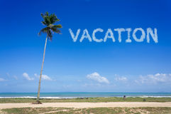 Vacation word cloud in the blue sky. Tourism concept Royalty Free Stock Photography