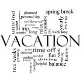 Vacation Word Cloud Concept in Black and White Stock Image
