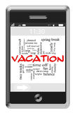 Vacation Word Cloud Concept on Touchscreen Phone Royalty Free Stock Photos