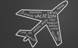 Vacation word cloud in plane shape Royalty Free Stock Photo