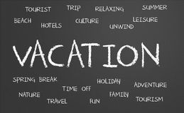 Vacation word cloud royalty free stock photos