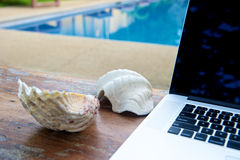 Vacation work with laptop at pool Stock Images
