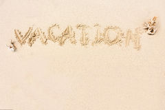 VACATION written in the sand on the beach with copy space for Royalty Free Stock Image