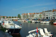 Vacation,yacht harbor. Yachts, docked in the city harbor of middelburg in europe the netherlands. Vacation, holiday concept royalty free stock photography