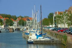 Vacation,yacht harbor. Yachts, docked in the city harbor of middelburg in europe the netherlands. Vacation, holiday concept royalty free stock image