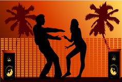 Vacational fun , dance silhouette Royalty Free Stock Image