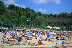 Vacationers on the beach. Vacationers on summer beach Varna ,Bulgaria Stock Photography
