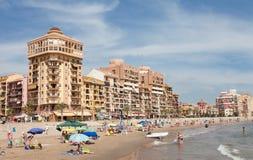 Vacationers on the city beach. Valencia Royalty Free Stock Photo