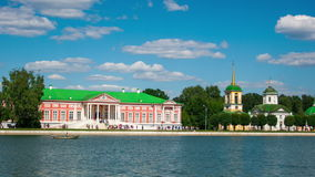 Vacationers go boating about Kuskovo palace. Estate Kuskovo — the former manor of counts Sheremetev where the architectural and art ensemble of the XVIII stock video footage