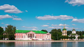 Vacationers go boating about Kuskovo palace. Estate Kuskovo — the former manor of counts Sheremetev where the architectural and art ensemble of the XVIII stock footage
