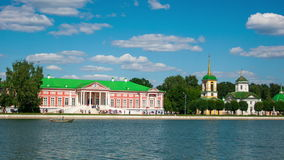 Vacationers go boating about Kuskovo palace stock video