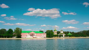 Vacationers go boating about Kuskovo palace. Moscow, Russia stock footage