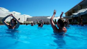 Vacationers hotel dancing with animators pool. Azure, Ukraine - 15 July 2016: vacationers hotel dancing with animators pool in Azure 15 July 2016. a lot of stock footage