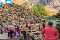 Vacationers at Moraine Lake Banff National Park Stock Images