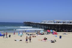 Vacationers at Pacific Beach Royalty Free Stock Photo