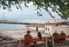 Vacationers people on the waterfront of Pomorie in Bulgaria