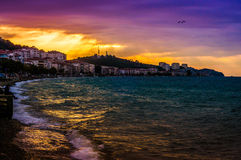 Vacationers On The Sunset Shore. Cinarcik town is a popular summer vacation area for the visitors coming from Istanbul city with the direct transportation Stock Image