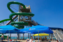 Vacationers in the water park on the Black Sea coast people Stock Photography