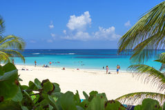 Vacationing at Flamenco Beach in the Caribbean stock images
