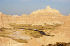 Vacationing in an RV 1. Vacationing in a recreational vehicle in the Badlands National Park Royalty Free Stock Image