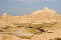 Vacationing in an RV 3. Vacationing in a recreational vehicle in the Badlands National Park Royalty Free Stock Photos