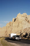 Vacationing in an RV 5. Vacationing in a recreational vehicle in the Badlands National Park Stock Image
