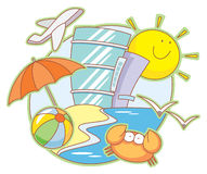 Vacations. Vector illustration with hotels on the beach, funny sun, umbrella, crab and others Stock Photo