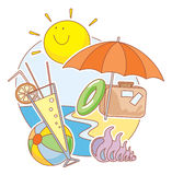 Vacations. Vector illustration of bag, swimcircle, ball, coctail, umbrella and shell on the sunny beach Stock Images