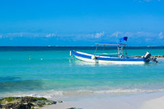 Vacations boat. Recreation boat in the turquoise caribbean ocean Royalty Free Stock Photo