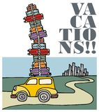 Vacations: a car running away from the city. Illustration of a funny car with a lot of luggage on the roof and running away from the city. Vector file available Royalty Free Stock Photos