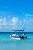 Vacations caribbe boat. Vacations boat in blue caribbean sea of cancun Stock Photos