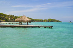 Vacations in a Caribbean beach. Caribbean beach at Rosario Islands, Colombia Royalty Free Stock Photos