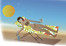Vacations. A girl is of vacations in the beach knocked  down in a tumbona, taking a refreshment, reading a book; under the Sun with his sunglasses Royalty Free Stock Image