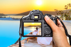 Vacations in Greece. With the camera Stock Images