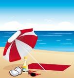 Vacations los artículos en la playa Fotografía de archivo