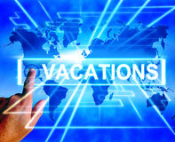 Vacations Map Displays Online Planning or Worldwide Vacation Tra Stock Photo