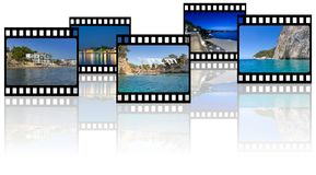 Vacations memories photos in film strip frames on white background with reflection. With empty copy space Stock Photography