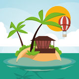 Vacations paradise island travel. Vacations hot air balloon house palm tree paradise island travel icon. Colorfull illustration. Vector graphic Royalty Free Stock Photography
