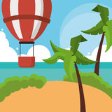 Vacations paradise island travel. Vacations hot air balloon palm tree paradise island travel icon. Colorfull illustration. Vector graphic Stock Photography