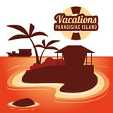 Vacations paradise island travel. Vacations house palm tree paradise island travel icon. Colorfull illustration. Vector graphic Stock Image