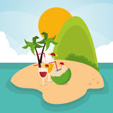 Vacations paradise island travel icon. Vectoraphic Royalty Free Stock Images