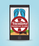 Vacations paradise island travel. Vacations sandals glasses float smartphone paradise island travel icon. Colorfull illustration. Vector graphic Stock Photos