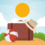 Vacations paradise island travel. Vacations suitcase hat ball paradise island travel icon. Colorfull illustration. Vector graphic Stock Image