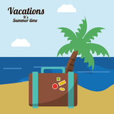 Vacations in paradise suitcase palm beach Royalty Free Stock Image