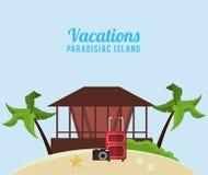 Vacations paradisiac island hut suitcase camera Royalty Free Stock Photos