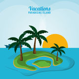 Vacations paradisiac island ocean sunlight palm tree Royalty Free Stock Photography