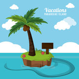 Vacations paradisiac island palm coconut flower and wooden board vector illustration